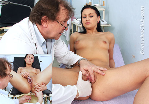 Hot brunette gets her twat explored by gyno